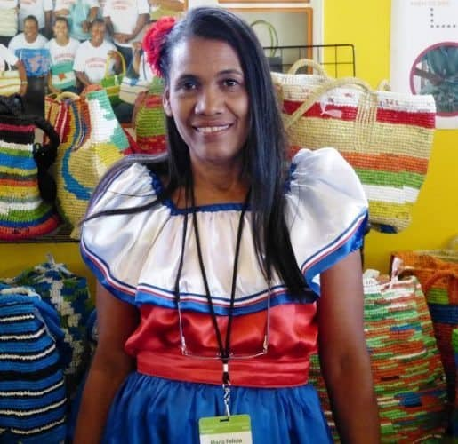 Maria Infante Dominican Republic coop of 25 women recycled plastic bags into purses and totes.