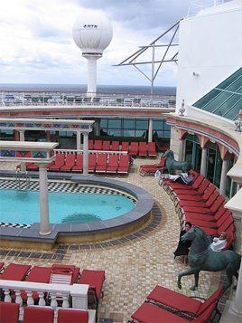 The adult solarium on the Explorer of the Seas offers a getaway from the kids.