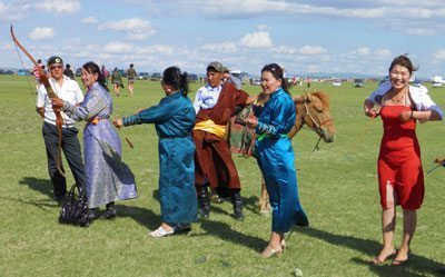 Archery competition at the Naadam Festival in Karakorum, Mongolia