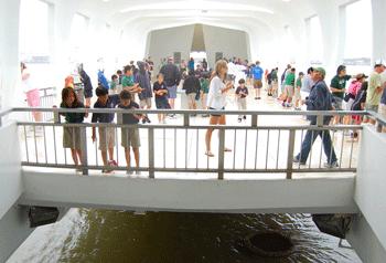 The USS Arizona Memorial in Pearl Harbor