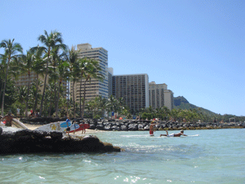 Waikiki Beach with Diamond Head in the background