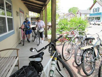 Right on the trail, the Bicycle Doctor Nordic Ski Shop in Dousman provides refreshment for people and bikes.