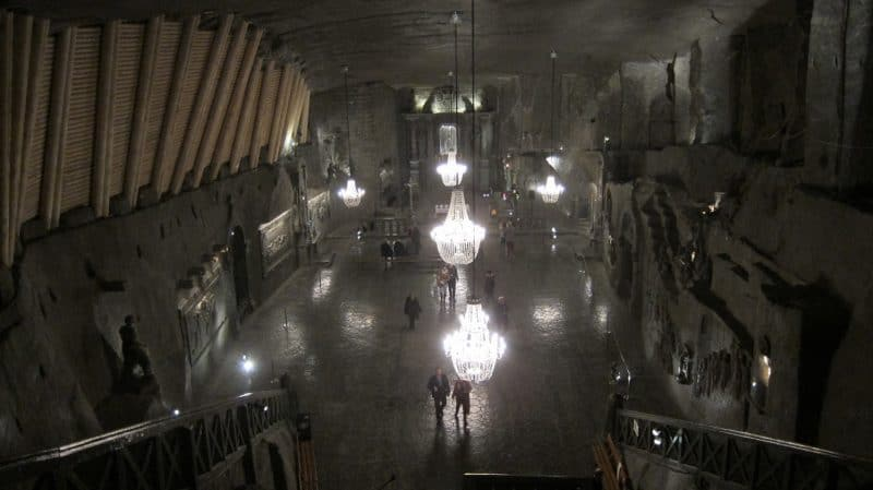 The cathedral in the Wieliczka salt mine in Poland.