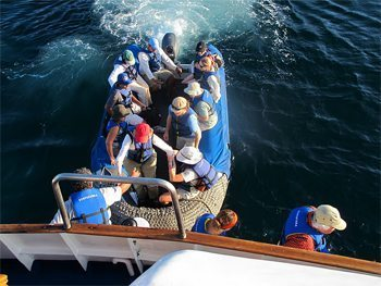 Passengers returning to the Eric from the excursion boat. photo by Nancy Porter.