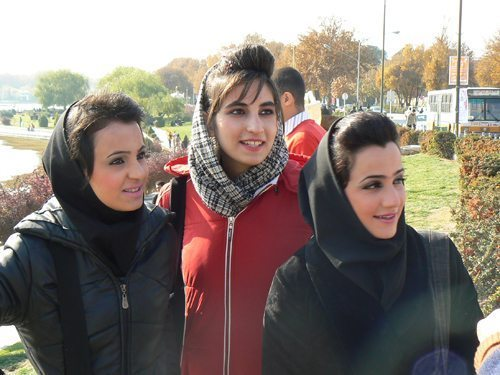Iranian girls in Shiraz, showing how relaxed the rules can get about headscarves and dress.