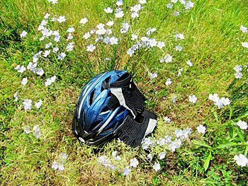 A rest stop is a good chance to take off the helmet and gloves and smell the wild flax.
