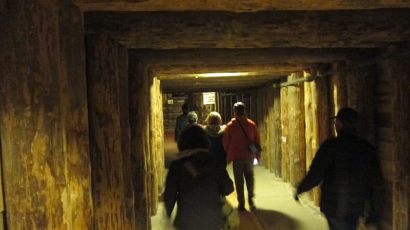 Entering the mineshaft.