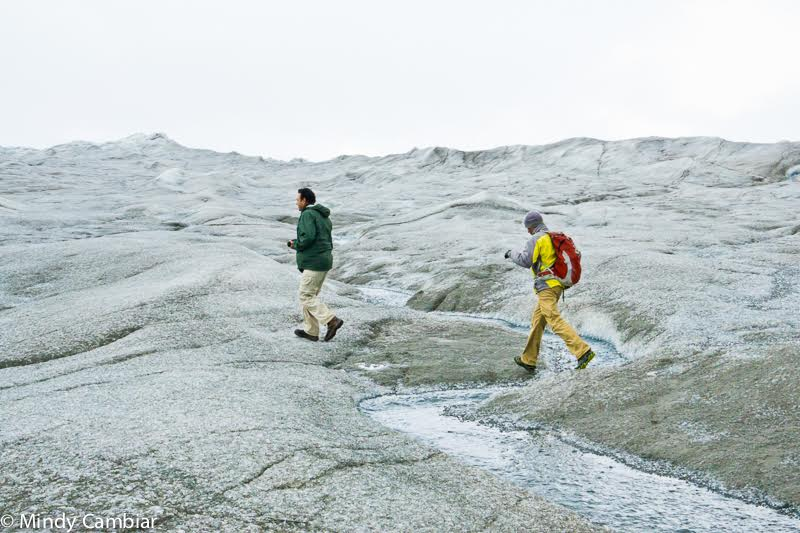 Walking the ice pack in Greenland.