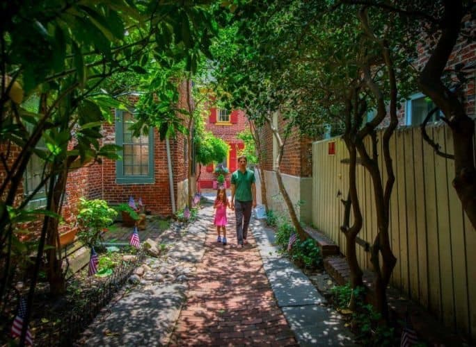 Elfreth's Alley, A glimpse into 18th-century homes on the nation's oldest residential street.