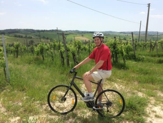 The author on the bike in Tuscany, Italy.