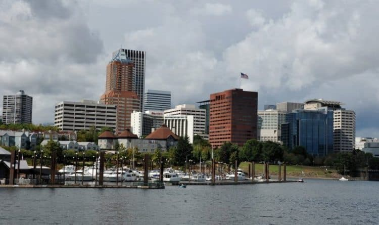 The Portland, Oregon waterfront.