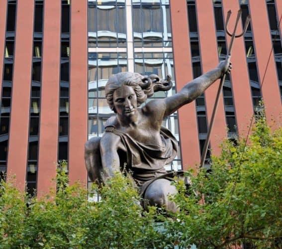 The Portlandia statue, an emblem of the city's roots.