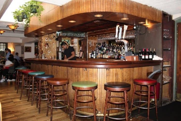 The cozy woody bar at the Tabard Inn.