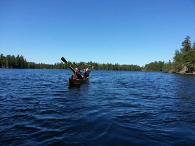 Canoeing across the cold and massive Lake Superior near Duluth, Minnesota.