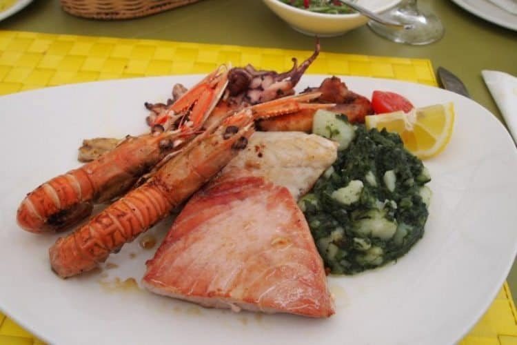 Seafood is fresh and delicious in Losinj, like this lunch at Restaurant Bava on the coast in Mali Losinj.