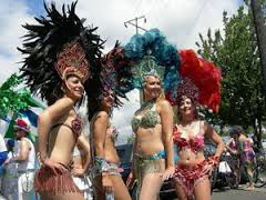 Samba dancers pose before the 2007 Summer Solstice Parade and Pageant, Fremont Fair, Seattle, Washington.