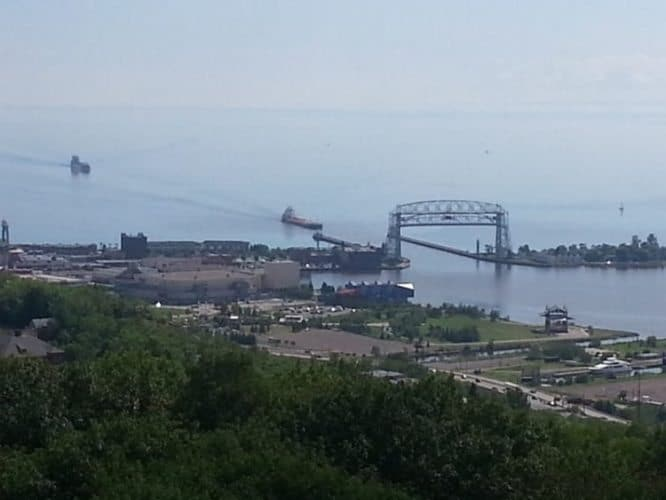 Duluth's harbor entrance to Lake Superior.