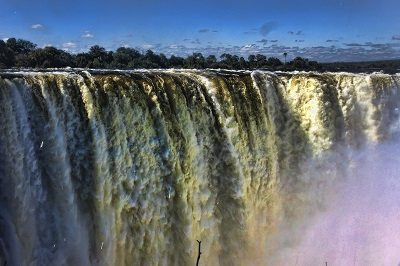 Zambia swimming: Victoria Falls, in the dry season. Devils Pool is on the edge of the falls - extreme right.