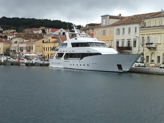 A big yacht on the island of Losinj, Croatia.