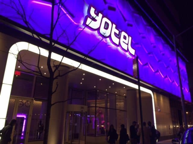 The purple Yotel sign, many people have walked or driven by this on 10th Ave.