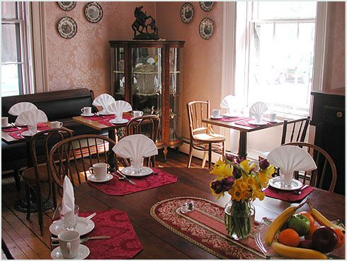 Dining room at the Old Court House Inn.