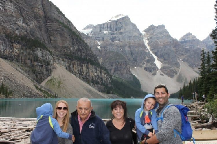 Alberta - Banff National Park - Moraine Lake - (from left, Bilal with his head turned, Maria, the co-author Habeeb, co-author Muna, Tamer, and Laith
