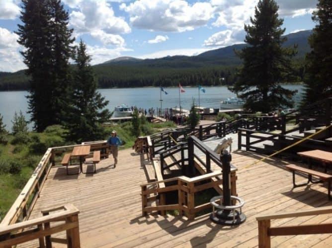 A dock at Maligne Lake, Alberta Canada.