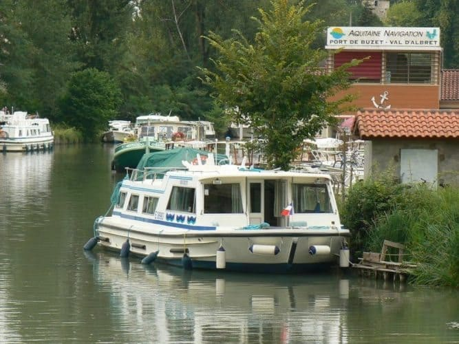 A barge in Aquitaine, France. You can now rent barges like this to travel in Poland.