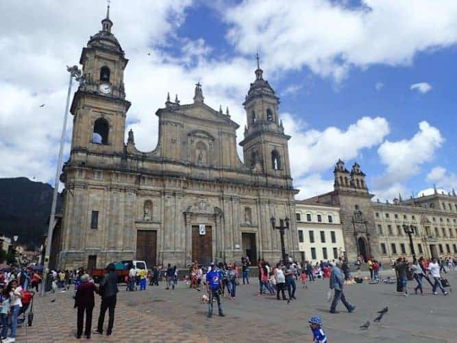 Bogota's main square is a dramatic colonial building, surrounded by a huge open square.