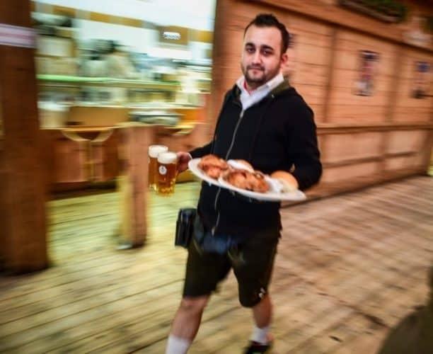 Busy waiter in the Schwabenbrau beer tent