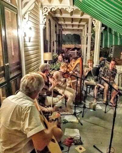 At the Chalfont B&B style hotel, live music brings the big front porch to life in the evenings in Cape May, NJ.