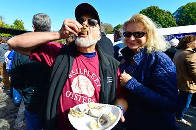 Longtime Festival attendee, David Mudd and his wife depends on oysters for their weekend fun (hint, hint).