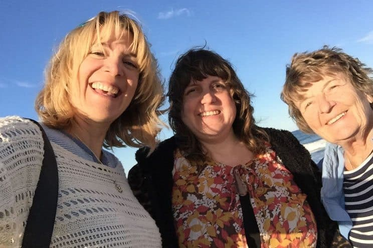 Good times! A selfie moment with me, sis and Mom while the sun sets at Rock Harbor Marsh.