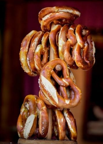 German Pretzels – A stack of fresh-baked pretzels are standard traditional fare at the Volksfest.