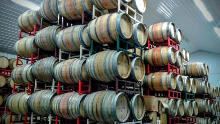 Barrels of wine aging at the Hawk Haven Winery in New Jersey.