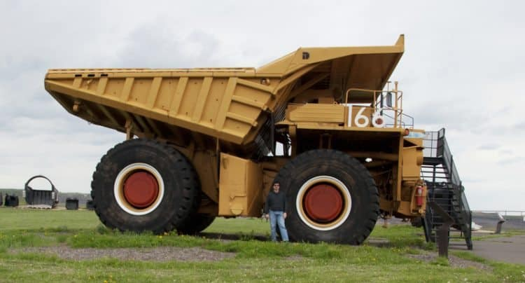 A giant mining dump truck on display at the Hull Rust Mine in Hibbing, Minnesota.