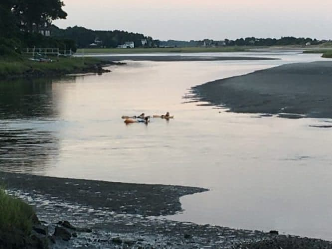 In Ogunquit en route to New Brunswick, we rafted down a river to the broad Atlantic beach.