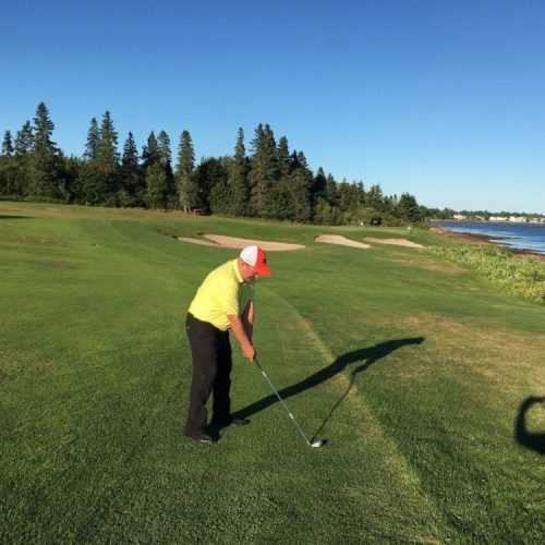 Jason Porter, Director of Golf at the Algonquin Resort, shows off the beautiful course views of Passamaquoddy Bay. More trees are being removed to highlight the views.
