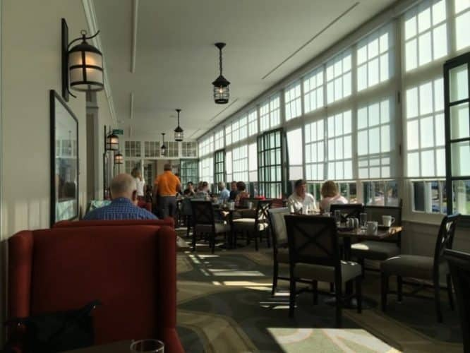 The long glassy breakfast dining area is especially welcoming at the Algonquin Resort in St Andrews, New Brunswick.