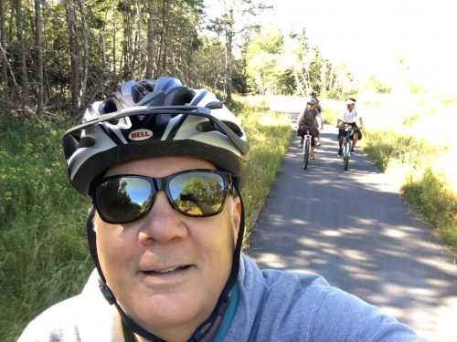 Enjoying the St Andrews-Van Horne bike trail, new this year in St Andrews.