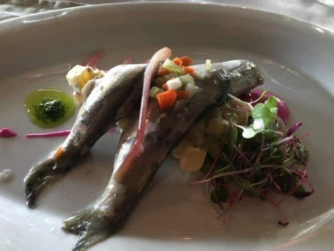 Locally caught sardines were a treat at the Rossmount Inn, one of the top restaurants in New Brunswick.