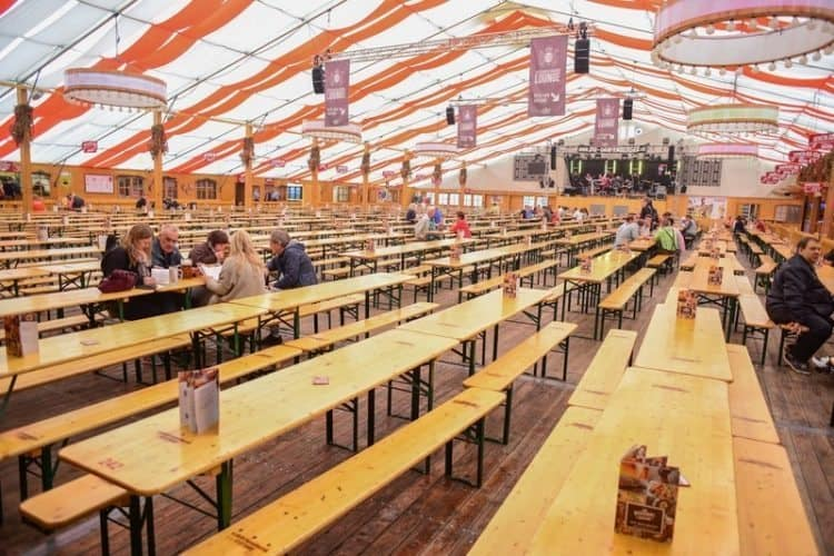 Soon these tables will be elbow to elbow with beer drinking Germans and tourists at Volksfest in Stuttgart.