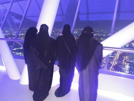 Local Saudi women on the Skybridge in Riyadh.