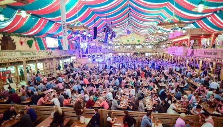 Inside the Schwabenbrau tent during Stuttgart's annual Volksfest second only in size to Munich's Oktoberfest which runs concurrently. David Greitzer
