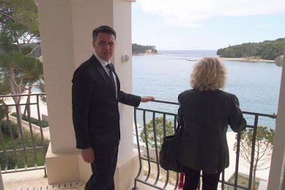 Enjoying the view in a luxury hotel in Croatia.