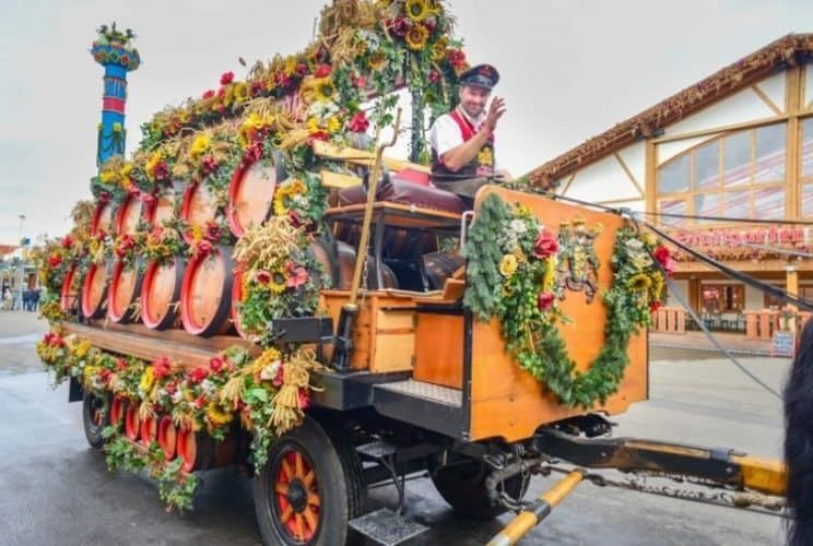 Beer Delivery – A traditional horse-drawn cart laden with kegs of Schwabenbrau beer are delivered to the tent which houses in excess of 5,000 guests during the annual Stuttgart Volksfest.