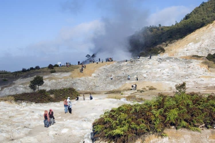 Dieng thermal springs, a relaxing place to soak in Java. Mike Smith photos.