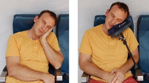 The JetComfy pillow is like a giant padded hand to hold your nodding head while you fly. travelgearreviews.com photo.