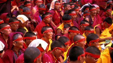 Monks participating in the sacred Kalachakra ceremony performed by HH the Dalai Lama at the Ki Monastery