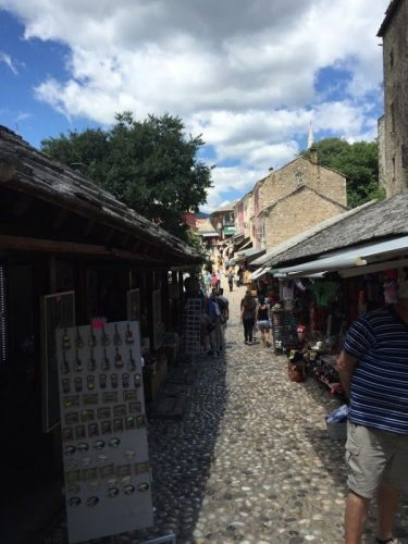 Dozens of bazaars line the main street of Mostar offering souvenirs and collectibles.